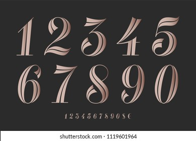 Numbers font. Classical elegant font of numbers with contemporary geometric design. Beautiful elegant retro stencil numeral, dollar and euro symbols. Vintage and retro typographic. Vector Illustration