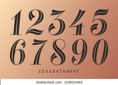 Numbers font. Classical elegant font of numbers with contemporary vintage design. Beautiful elegant retro stencil numeral, dollar and euro symbols. Vintage and retro typographic. Vector Illustration