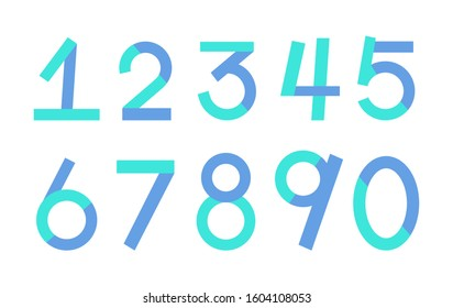 Numbers font. Geometric regular extra bold outline numbers.Vector Illustration. Colorful blocks of 1 2 3 4 5 6 7 8 9 0