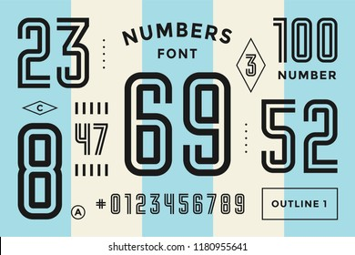 Numbers font. Sport font with numbers and numeric. Geometric regular condensed numbers. Strong industrial inline sport font for design, creative typographic, poster. Vector Illustration