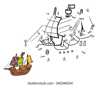 Numbers game for children: ship