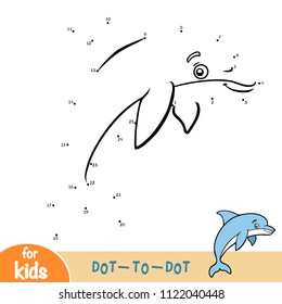 Numbers game, education dot to dot game for children, Dolphin