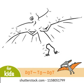 Numbers game, education dot to dot game for children, Pteranodon