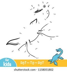 Numbers game, education dot to dot game for children, Elasmosaurus