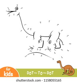 Numbers game, education dot to dot game for children, Apatosaurus