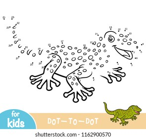 Numbers game, education dot to dot game for children, Gecko