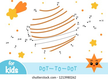 Numbers game, education dot to dot game for children, Planet Saturn and stars
