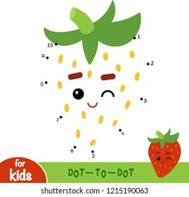 Numbers game, education dot to dot game for children, Strawberry