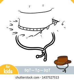 Numbers game, education dot to dot game for children, Cowboy hat