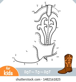 Numbers game, education dot to dot game for children, Western boots