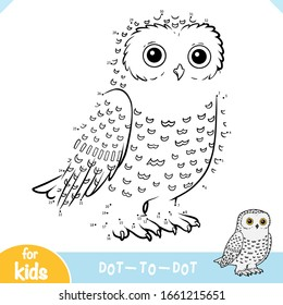 Numbers game, education dot to dot game for children, Snowy owl