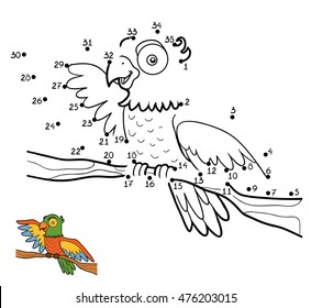 Numbers game, education dot to dot game for children, Parrot