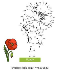 Numbers game, education dot to dot game for children, flower Poppy