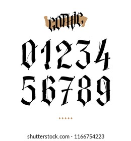 The numbers are in the Gothic style. Vector. Symbols isolated on white background. Calligraphy and lettering. Medieval figures. Individual symbols. Elegant font for tattoo. A set of inscriptions.