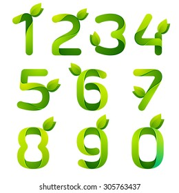 Numbers with green leaves set. Vector design template elements for your application or corporate identity.