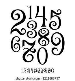 Numbers. Hand drawn set of ten numbers from zero to nine. Hand lettering numbers vector set.