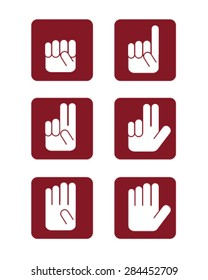 Numbers hand gesture icons
