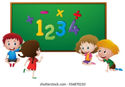 Numbers and kids at school illustration