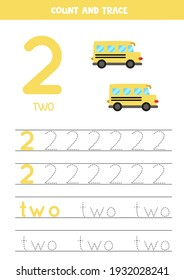 Numbers and letters tracing practice. Writing number two and the word two. Cartoon school buses.