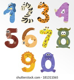 Numbers like african animals / Solid fill illustration in EPS 8 format