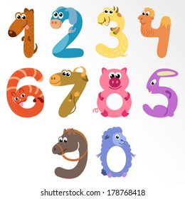 Numbers like farm animals / Solid fill illustration in EPS 8 format