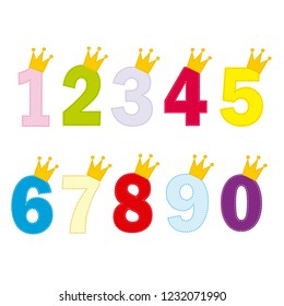 Numbers for little princess and prince. Vector illustration