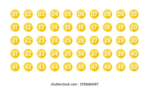 Numbers with long shadow on yellow circles set. Vector flat illustration. Number bullet points from 1 to 50 isolated on white background.