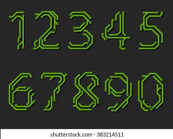 Numbers made from printed circuit board