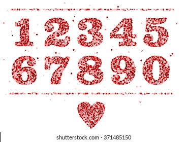 numbers made of red hearts