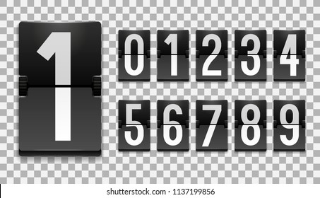 Numbers from Mechanical Scoreboard; Flip countdown clock counter; White digit on black board; Countdown flip board with Scoreboard
