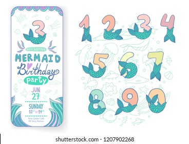 Numbers With Mermaid Tail Vector Set. Beautiful element for Mermaid Birthday Party design, invitation, greeting card and cake toppers.