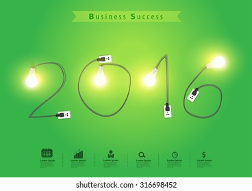 Numbers of New Year 2016 with creative light bulb idea, Vector illustration modern design template