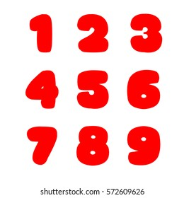 Numbers on white. Big fat signs. Isolated on white. One two three four five six seven right nine. red bold numbers. Big numbers. Round lettering. Big fat numbers. Bold round lettering isolated red