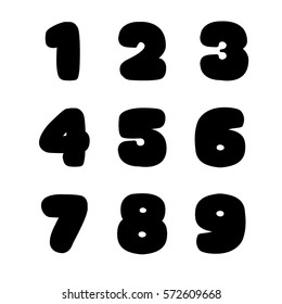 Numbers on white. Big fat signs. Isolated on white. One two three four five six seven right nine. Black bold numbers. Big numbers. Round lettering. Big fat numbers. Bold round lettering isolated
