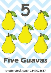 Numbers printable flashcards - Illustration fruits number - Vector - learning to count and write. Flashcard Number for kid.