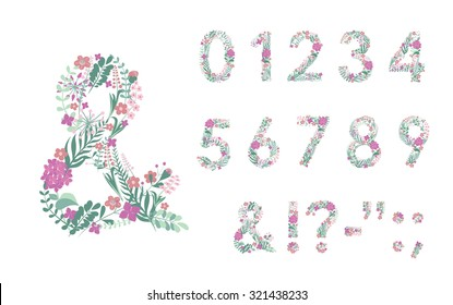 Numbers and Punctuation. Editable Vector hand-drawn monogram composed of flowers, branches and leaves on a white background.