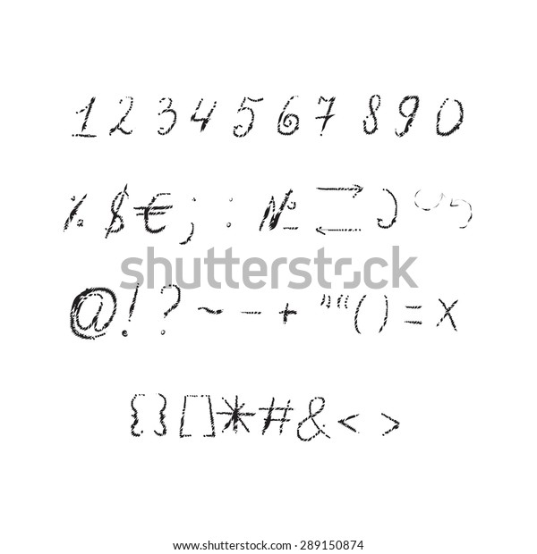 Numbers Punctuation Marks Period Comma Hyphen Stock Vector