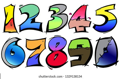 Numbers set from 0-9 in graffiti bold stroke vector outline in gradient colors.