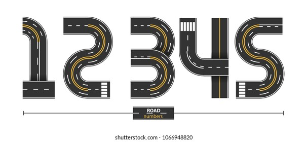 Numbers in a set 1,2,3,4,5, road with white and yellow line markings on white background