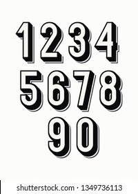 Numbers set 3d bold style trendy typography consisiting of 1, 2, 3, 4, 5, 6, 7, 8, 9, 0 for poster, t shirt, book, sale banner, printing on fabric, birthday card. Modern font. 10 eps