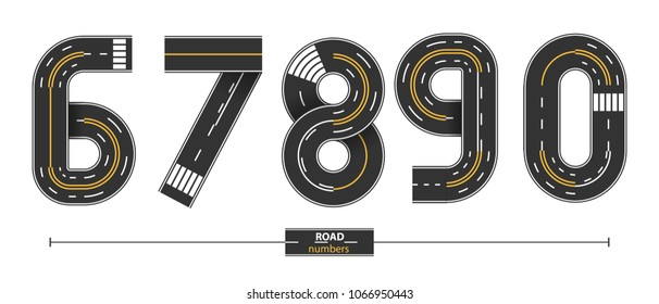Numbers in a set 6,7,8,9,0, road with white and yellow line markings on white background