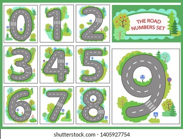 Numbers set. Background with road for gaming car. Children educational game for learn numbers. Kids theme of the invitation to a birthday party. Wallpaper for childrens room. Vector illustration.