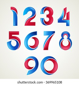 Numbers set of  blue and red glossy style.-Vector illustration.