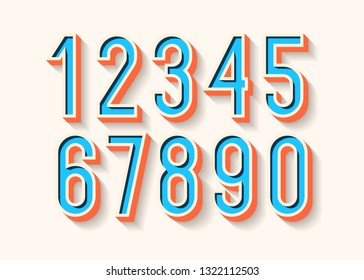 Numbers set color 3d bold style trendy typography consisiting of 1, 2, 3, 4, 5, 6, 7, 8, 9, 0 for poster, t shirt, book, sale banner, printing on fabric, birthday card. Modern font. Vector 10 eps