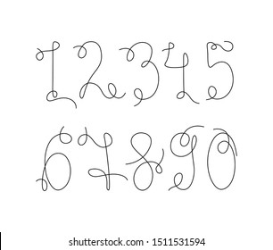 Numbers set continuous line drawing, tattoo, print and logo design, numerical digit, silhouette one single line on a white background, isolated vector illustration.