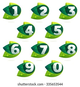 Numbers set with green leaves and dew drops. Vector design template elements for your application or corporate identity.