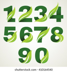 Numbers set with green leaves. Vector design template elements for your application or corporate identity.