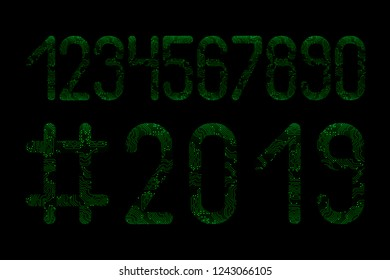 Numbers set. Hashtag 2019 New Year. Microcircuit Green pattern, black background