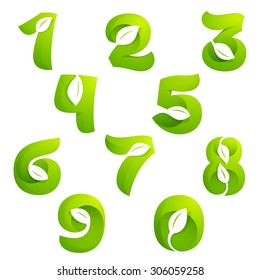 Numbers set with leaves and negative space. Vector design template elements for your application or corporate identity.