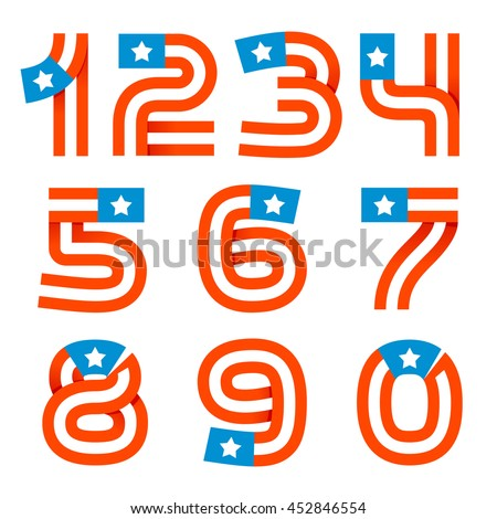 numbers set logos american stars stripes stock vector royalty free